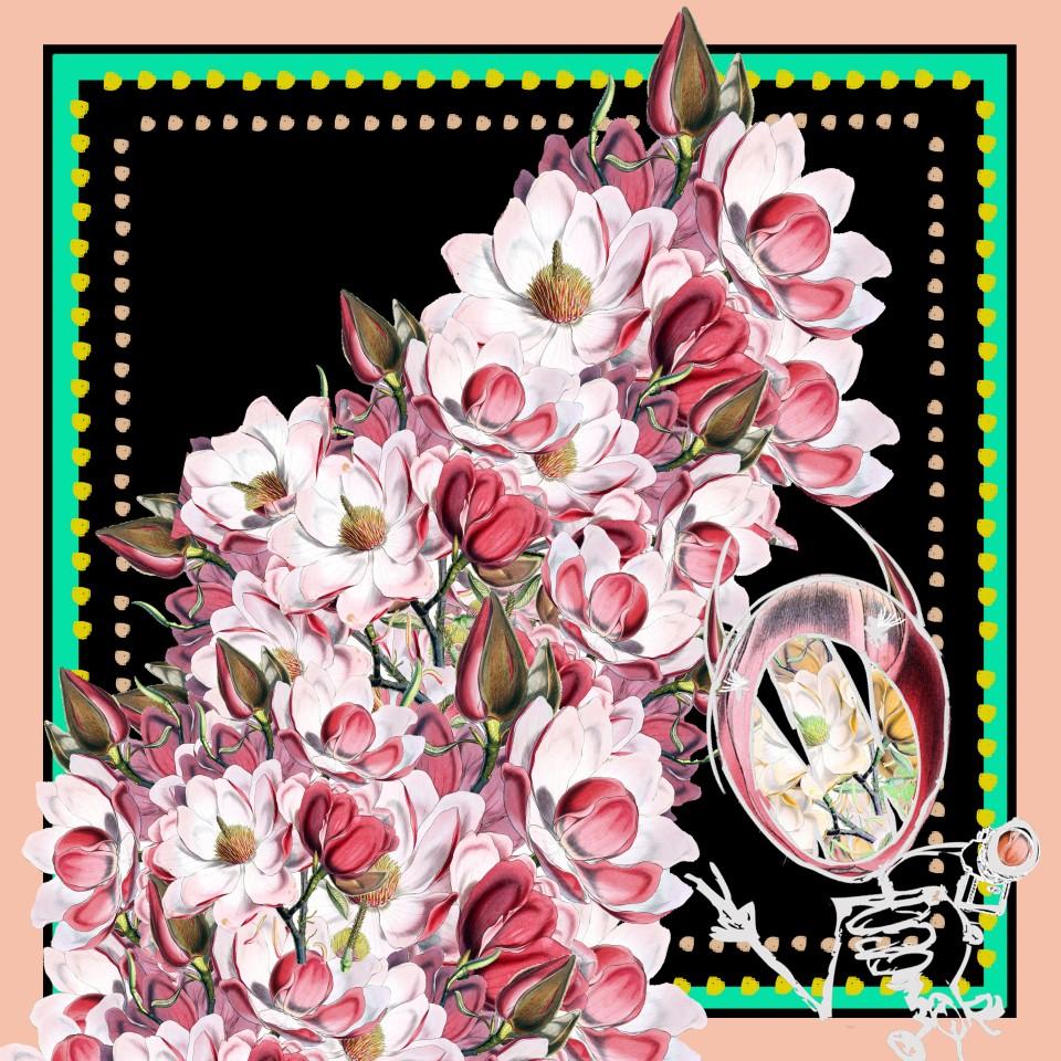 MAL 1mx1m black florals peach
